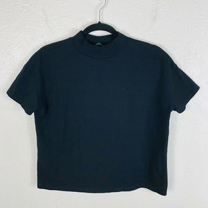Zara Collection Size Small Black Mock Neck T Shirt